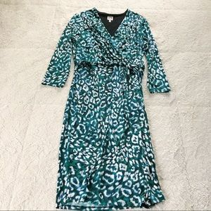 Anne Klein Green & Black Animal Print Dress